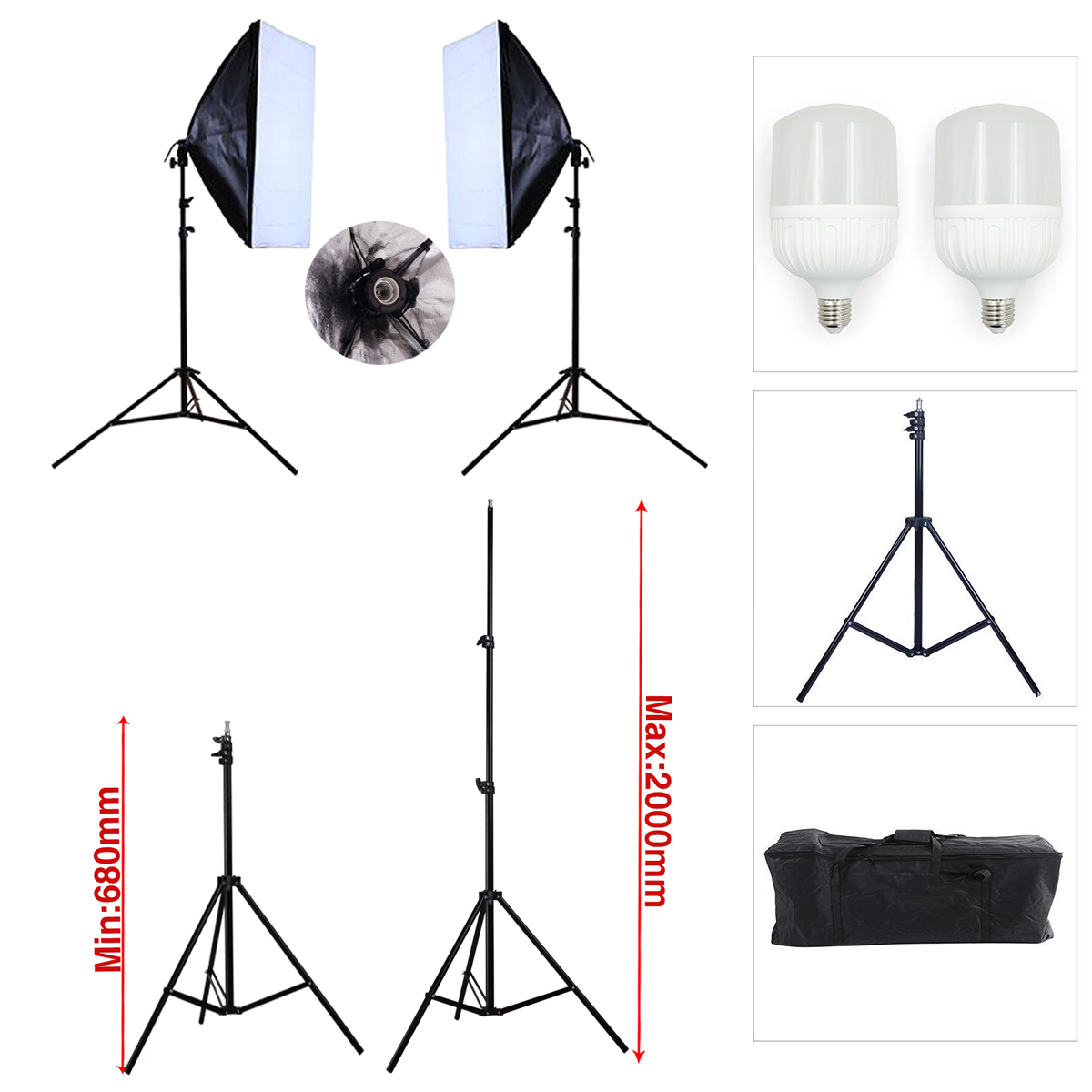 Softbox szett LED 2x28W, 2x2m állvánnyal