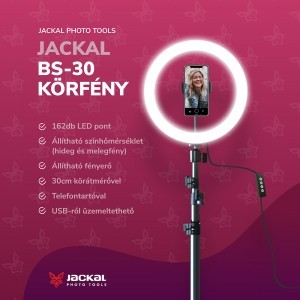 Jackal BS-30 LED körlápma, körfény 30cm ring light, 2m állvánnyal